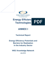 EE Technologies ANNEX I Energy Efficiency Potentials and Barriers for Realization