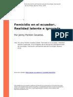 Por Jenny Ponton Cevallos (2009). Femicidio en El Ecuador. Realidad Latente e Ignorada