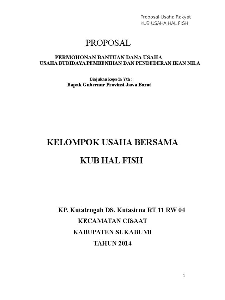 Contoh Proposal Budidaya Ikan Nila Pdf Barisan Contoh