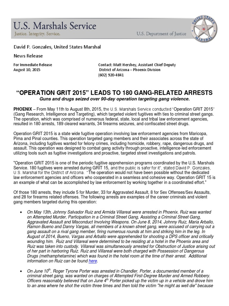 """Operation Grit 2015"""" Leads To 180 Gang-Related Arrests"""
