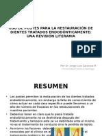 """Articulo Uso de Postes Para La Restauraciã""""n de Dientes"""
