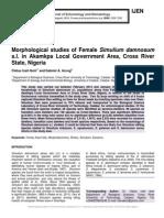 Morphological studies of Female Simulium damnosum s.l. in Akamkpa Local Government Area, Cross River State, Nigeria