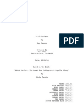 Pitch Perfect Screenplay   Leisure   Entertainment (General)