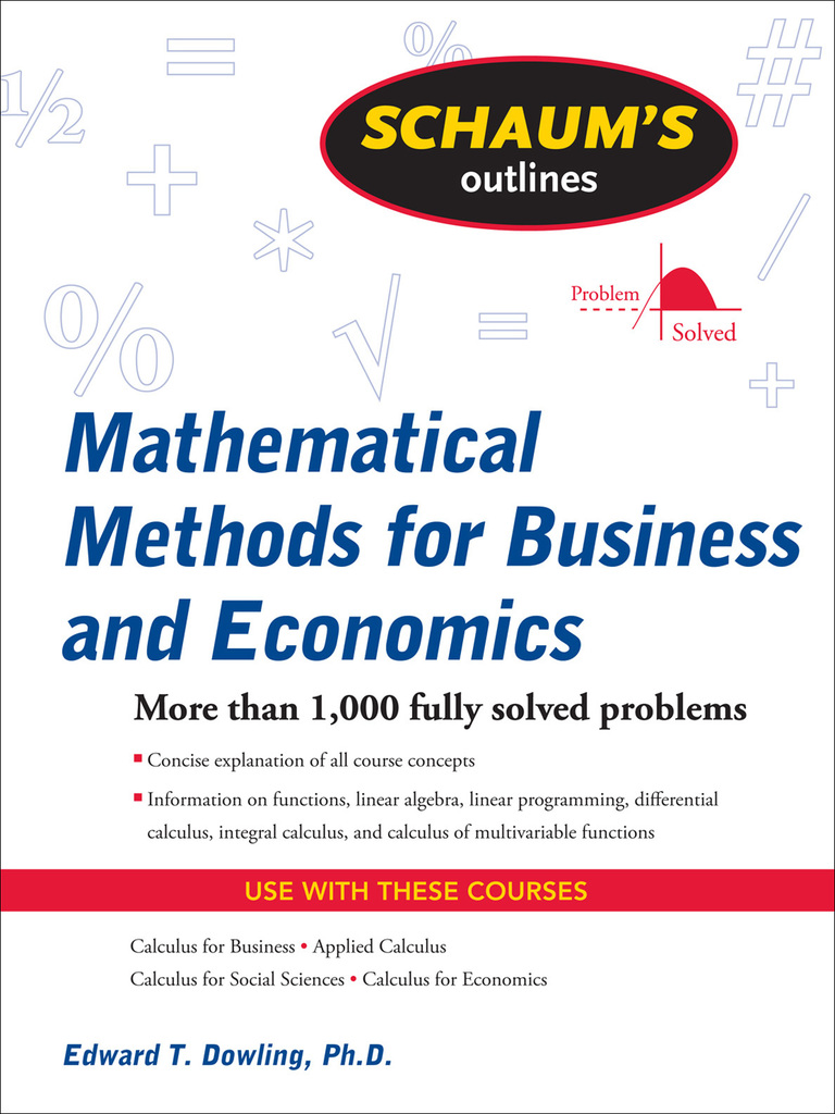 Mathematical methods for business and economics edward t dowling mathematical methods for business and economics edward t dowling factorization fraction mathematics fandeluxe Image collections