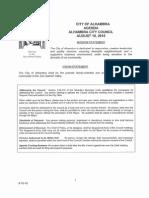 City Council meeting agenda. August 10, 2015