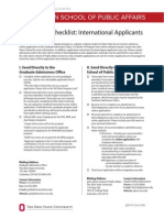Application Checklist-International Applicants OSU