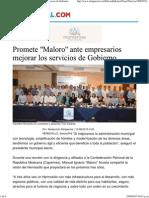 10-08-15 Promete Maloro ante empresarios mejorar los servicios de gobierno