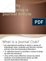 Critically Appraising a Journal Article Student Version