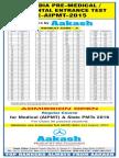 AIPMT 2015 Code a Answer Key
