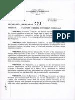 Department Circular No. 032 Re Passport Validity