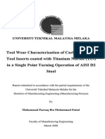 Tool Wear Characterization of Carbide Cutting Tool Insert Coated With Titanium Nitride TIN in a Single Point Turning Operation of Aisi D2 Steel - Muhammad Farouq b. Muhammad Faisal - TJ1186.M42 2008