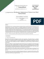 Computational aerodynamic Optimisation of Vertical axis Wind Turbine blades
