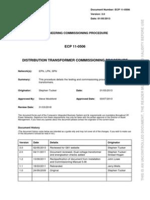ECP+11-0506+Distribution+Transformer+Commissioning+Procedure