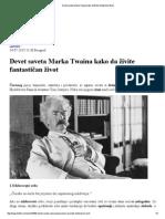 Devet Saveta Marka Twaina Kako Da Živite Fantastičan Život