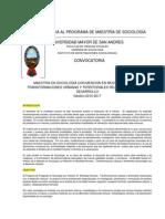 CONVOCATORIA MAESTRIA SOCIOLOGIA UMSA