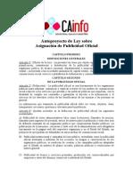 AnteProyecto de Ley Publicidad Oficial CAinfo