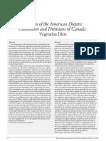 Vegetarian Diets and the American Dietetic Assoc