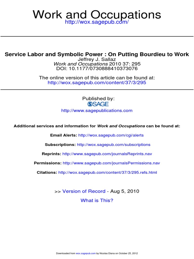 Service Labor And Symbolic Power On Putting Bourdieu To Work