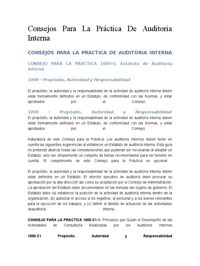 Consejos Para La Practica de La Auditoria Interna