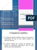 Métodos de preparo de amostras  sequência analítica