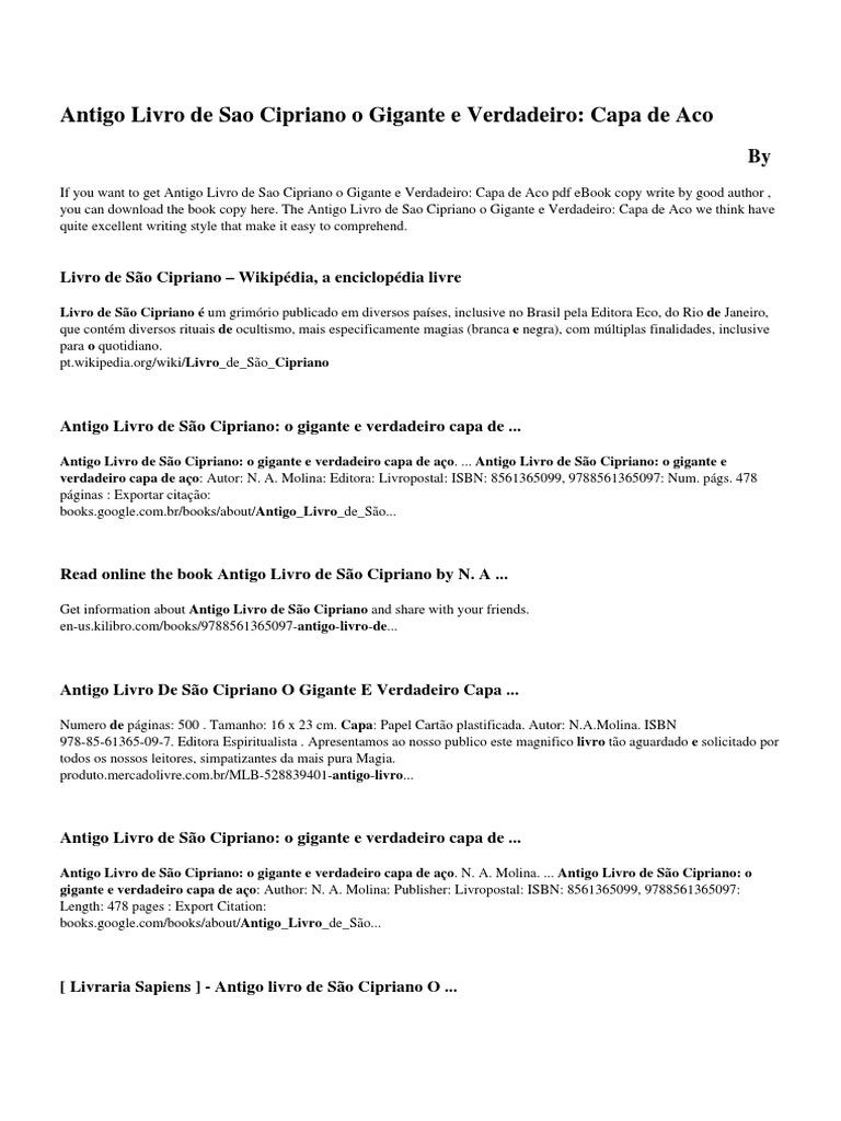 Livro Sao Cipriano Pdf