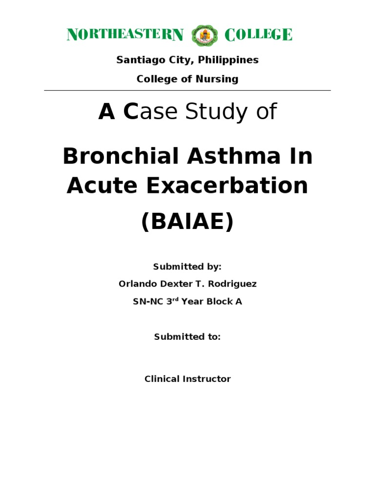 bronchial asthma in acute exacerbation case study scribd