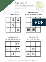Magic Square Worksheets 1