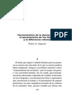 Hermeneutica de La Democracia por Walter Mignolo