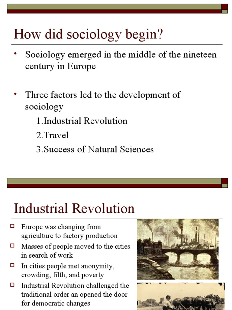 what factors led to the development of sociology