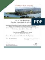 Mindfulness for Anxiety  Sept 2015 Dunedin workshop