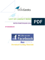 List of Cabinet Minister in 2014