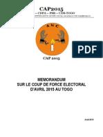 TOGO - Memo Coup de Force Electoral d'Avril 2015