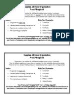 supplies & binder organization pre-ap e2
