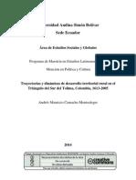 Trayectorias y dinámicas de desarrollo territorial rural en el Triángulo del Sur del Tolima, Colombia, 1613-2005