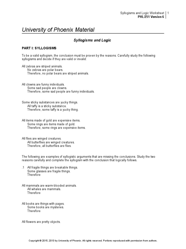 worksheet Logical Fallacies Worksheet phl251r6 w3 syllogisms and logic worksheet argument inductive reasoning