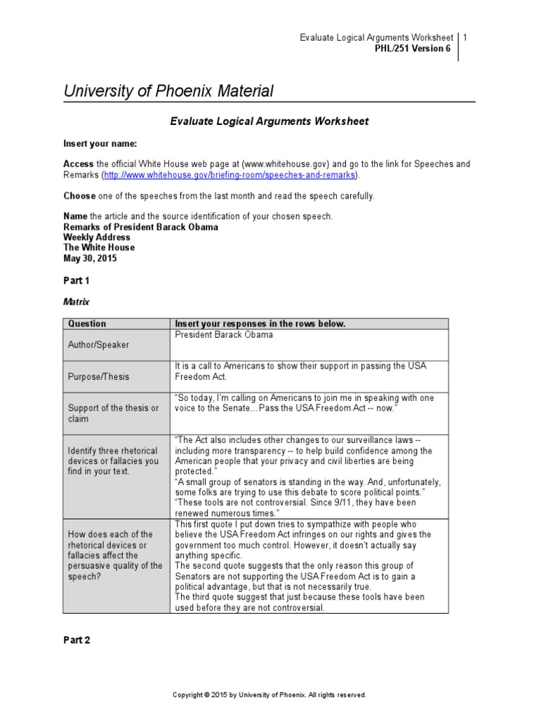 PHL251r6 Wk3 Evaluate Logical Arguments Worksheet Argument – Logical Fallacies Worksheet