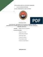 Análisis Del Crecimiento Económico Sobre La Tasa de Desempleo en Los Principales Sectores de La Region Arequipa (2006-2011)