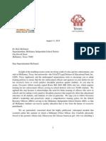 Texas Appleseed, LDF, Et Al. Letter to McKinney ISD Superintendent Rick McDaniel