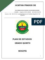 Plan de Estudios Quinto matematicas
