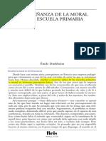 Durkheim, Émile - La Enseñanza de La Moral en La Escuela Primaria