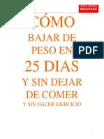 COMO BAJAR DE PESO EN 25 DIAS