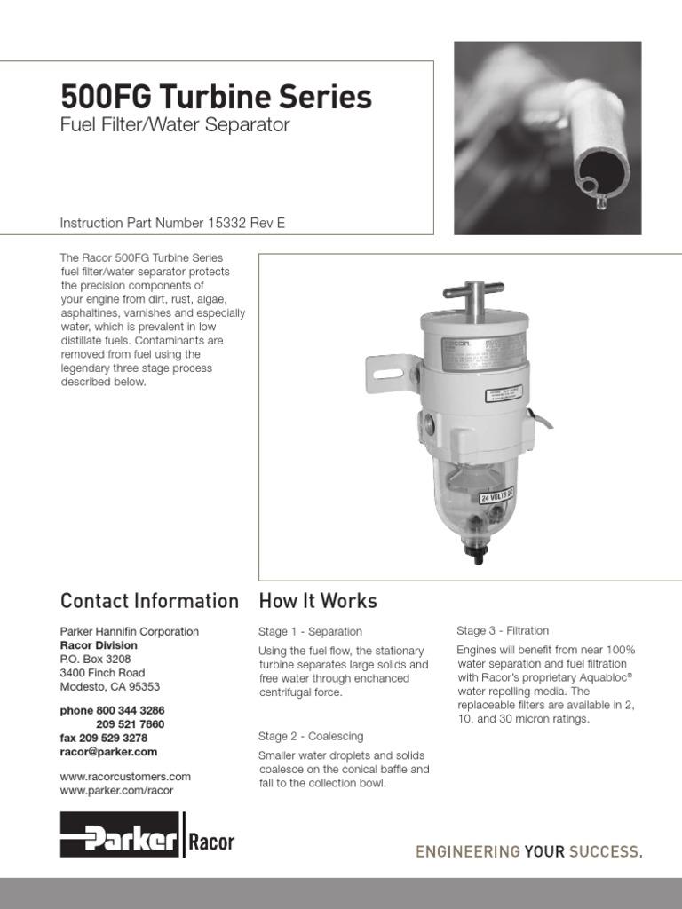 15332 Rev E 500fg Turbine Series Pump Valve Parker Fuel Filter