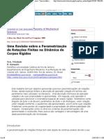 Journal of the Brazilian Society of Mechanical Sciences - Uma Revisão Sobre a Parametrização de Rotações Finitas Na Dinâmica de Corpos Rígidos - Texto Completo