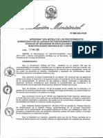 Resolución Ministerial 088-2015-PCM Tupa Modelo de Licencias de Funcionamiento e ITSE