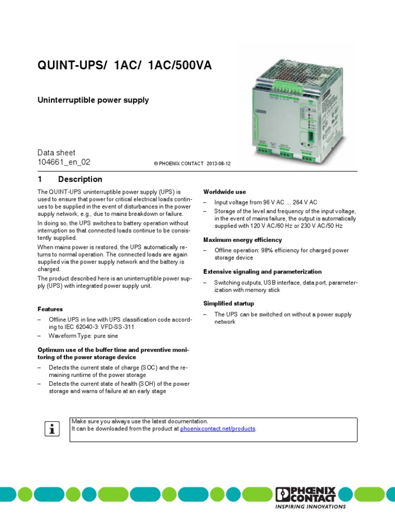 QUINTUPS 1AC 1AC500VA Power Supply Mains Electricity