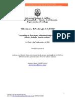 Camou a. 2012 Laburar en El Estado Notas Sobre La Insercin de Jvenes Socilogos de La UNLP Ponencia Presentada a Las VII Jornadas de Sociologa