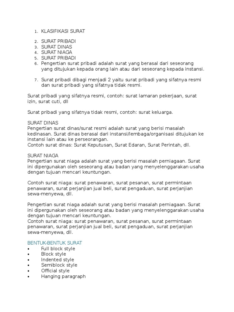 Klasifikasi Surat