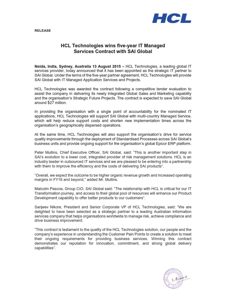 HCL Technologies wins five-year IT Managed Services Contract