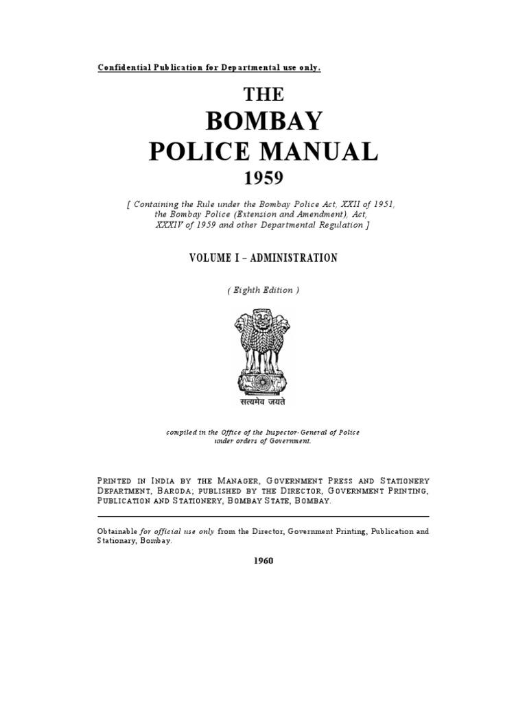 Bombay Police Manual i | Inspector | Police