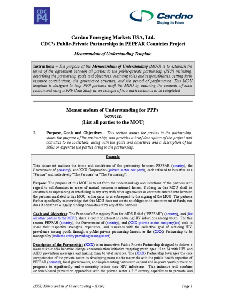 CDC P4 MOU Template for PPPs 12.6.13 | President\'s Emergency Plan ...